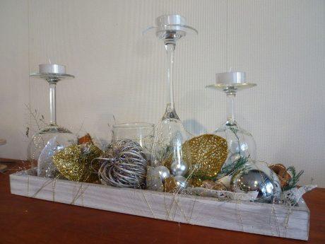 Centre de table verre et bougies